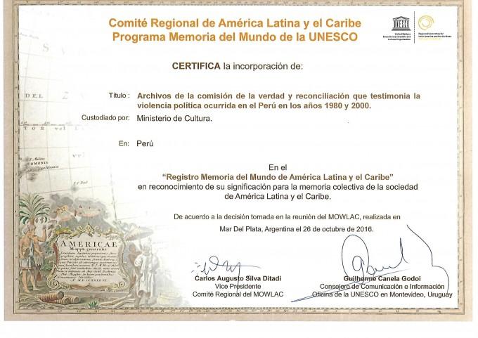 Certificado UNESCO CVR